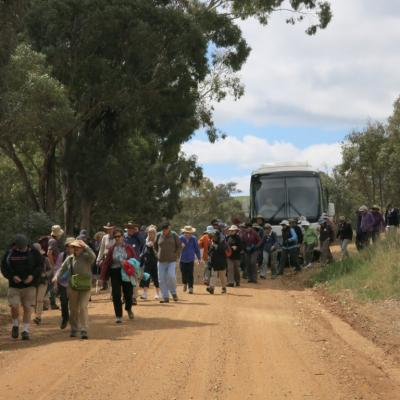 Leaving the coach to walk along St Clements Way to Binalong 12 Oct 2017