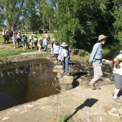 Crossing Sullivans Creek at ANU, 19 January 2018