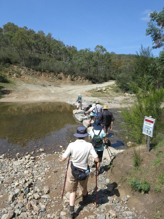 crossing Paddys River near Cotter Caves, 17 December 2017